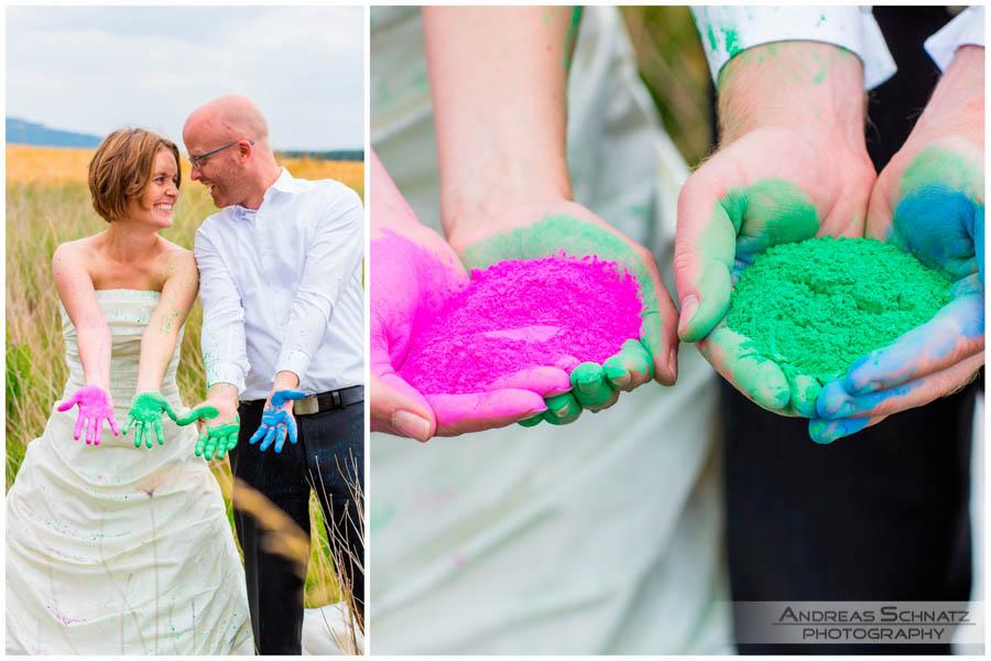 After wedding Hochzeitsbilder trash the dress Holi Colors Hochzeitsfotograf
